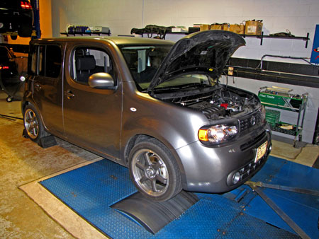 Nissan Cube with STILLEN Intake and Exhaust strapped to the Dyno at D'Sousa Performance