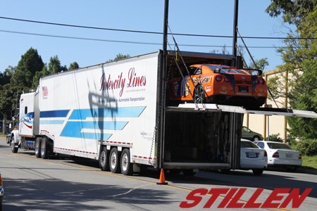 STILLEN NADA Guides GT-R entering it's new double-decker accommodations