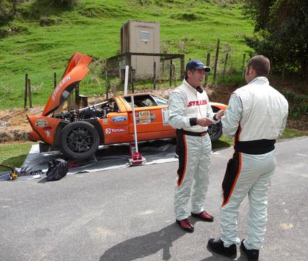 Steve Millen Kyle Millen Strategizing at the Ford GT Targa Rally