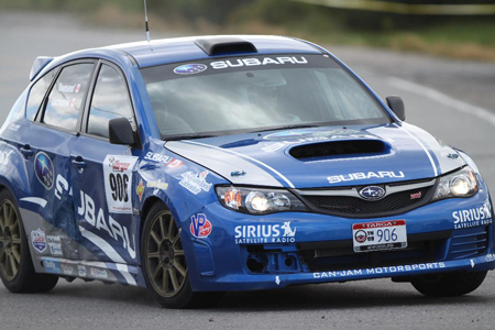 Subaru Impreza STi at Targa Newfoundland that crashed during prologue and rebuilt to race.