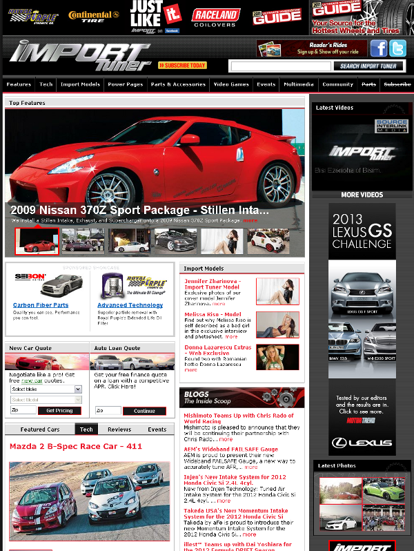 STILLEN 370Z On Home Page of Import Tuner