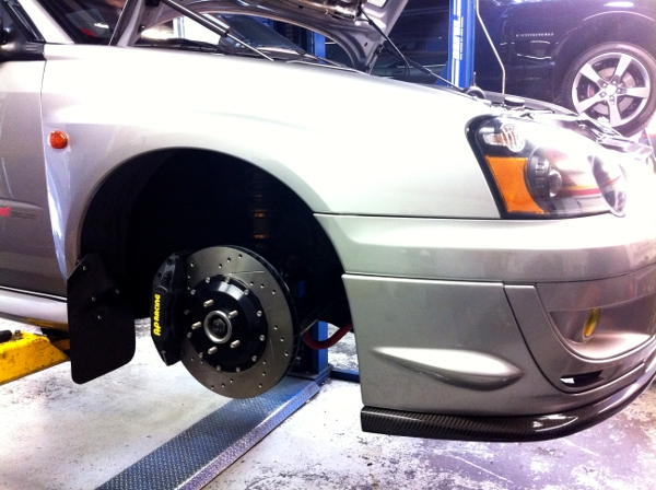WRX STI Getting Front & Rear AP Racing Brakes Installed