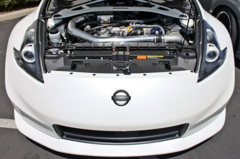 supercharged white 370z nismo front view