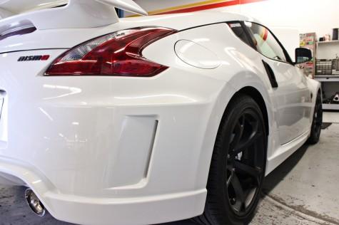 White 370Z Nismo rear angle