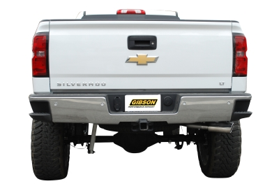 Gibson SIngle Exit Behind Right Rear Tire 2014 Silverado Exhaust