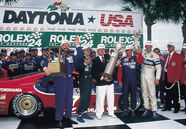 Steve Millen Celebrating His 24 Hours of Daytona Win