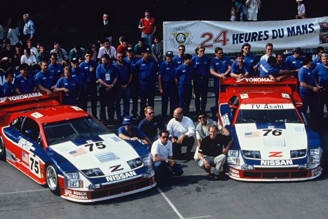 Steve Millen & team with the No. 75 Nissan 300ZX & No. 76 Nissan 300ZX  After Winning the 1994 24 Hours of Le Mans