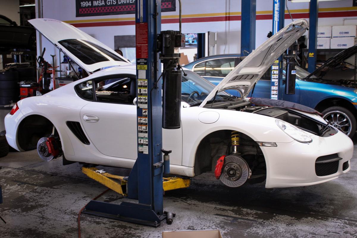 Porsche Cayman at the STILLEN Performance Shop Getting KW Coilovers Installed