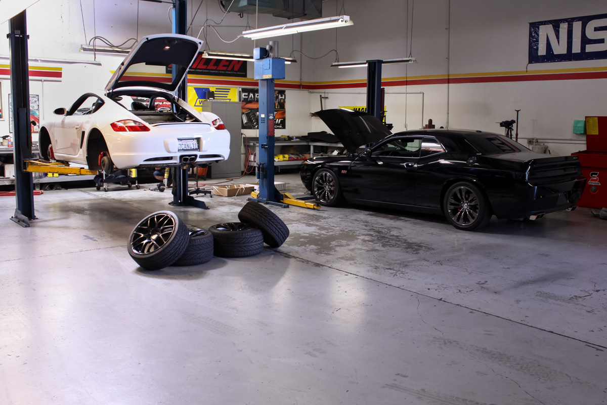 Porsche Cayman at the STILLEN Performance Shop in Costa Mesa, CA Getting KW Coilovers Installed