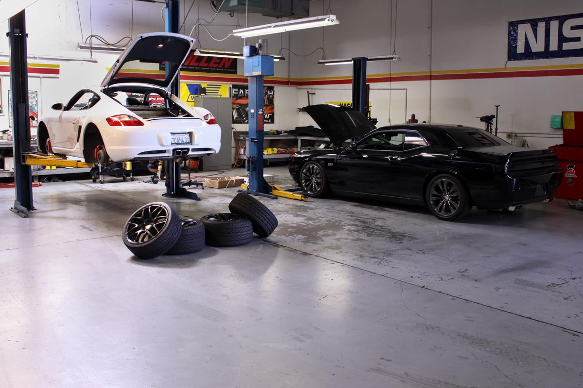 Porsche Cayman at the STILLEN Performance Shop in Costa Mesa, CA Getting KW Coilovers Installed