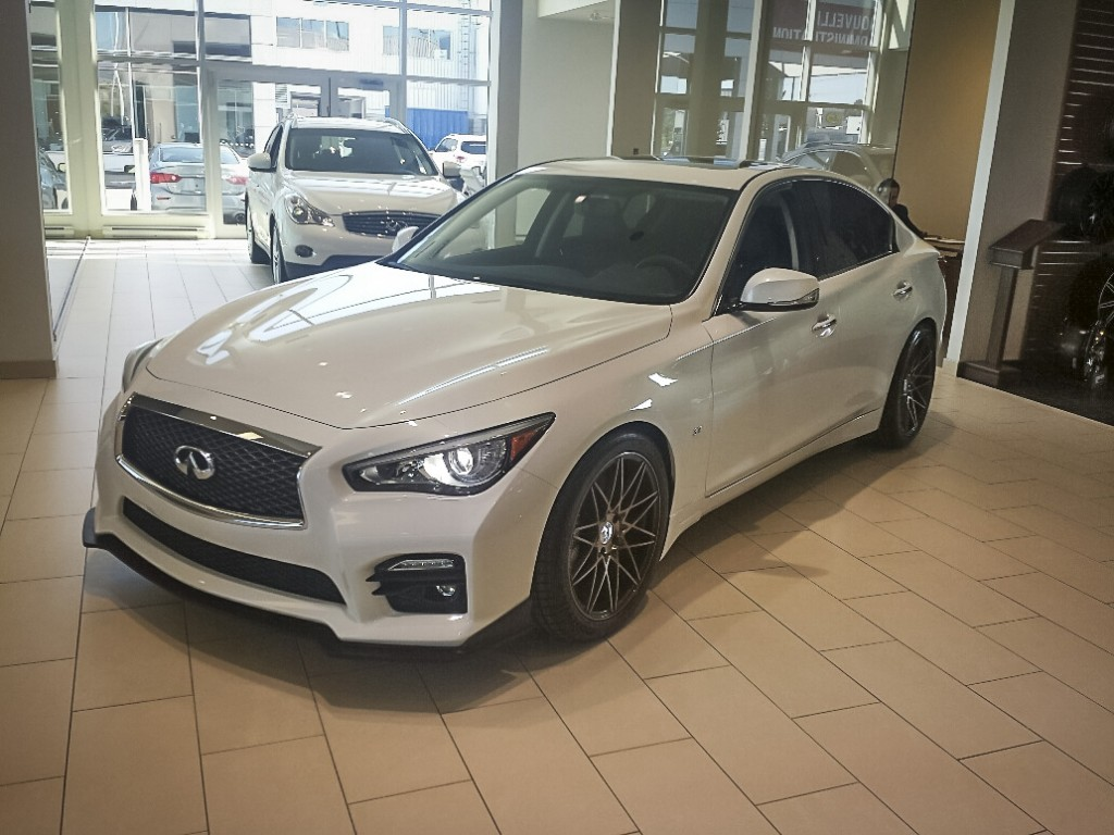 Infiniti Q50 with STILLEN Splitter, Roof Wing, diffuser, and Cat-Back Exhaust with RS-R Lowering Springs - Available at Infiniti Quebec