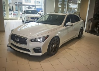 Infiniti Q50 with STILLEN Splitter, Roof Wing, diffuser, and Cat-Back Exhaust with RS-R Lowering Springs - Available at Infiniti of Quebec