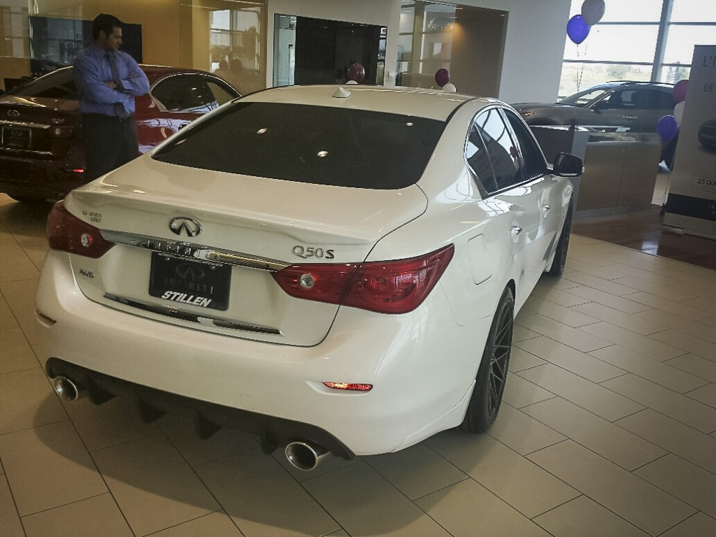 Roof Wing, diffuser, and Cat-Back Exhaust on Infiniti Q50