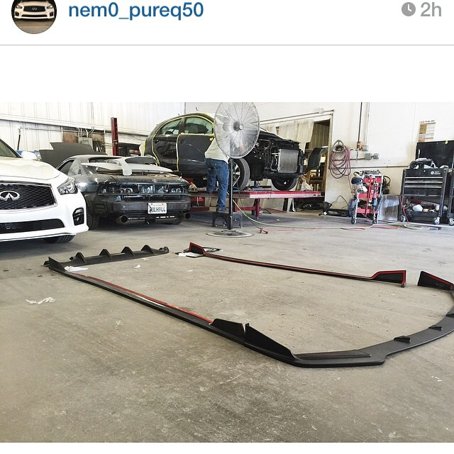 Loving this picture from @nem0_pureq50 getting his #stillen #infiniti #q50 #bodykit prepped for paint!