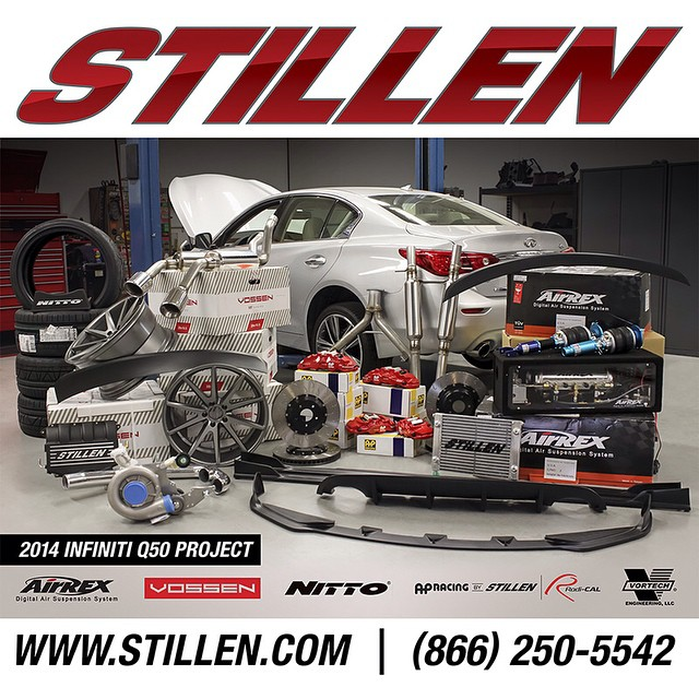With #sema2014 only days away we wanted to let everyone know about our plans for the #Stillen #infiniti #q50. We are very proud to work with our friends @nitto tires and @vossen wheels as well as the guys @airrexusa and of course our good friends @vortech.  This will be the first boosted #infinitiq50 as well as the first car to represent the first parts from our new line of Stillen carbon fiber made in house.  #madeinusa #carbonfiber #power