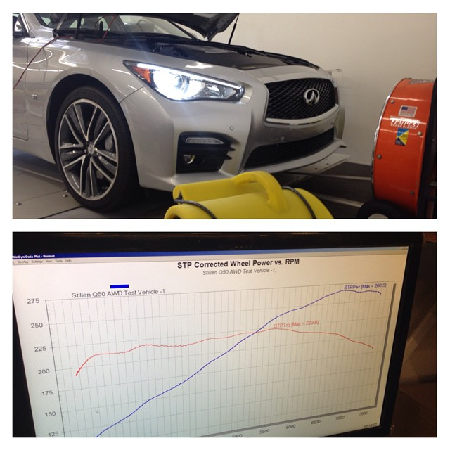 Watch out for the #stillen #infiniti #q50 as we just picked up our very own car and it's already on the dyno getting the baseline numbers!  Special thanks to our friends @rsrusa for letting us use their all wheel drive dyno to get the base lines