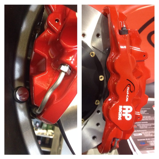 So apparently our #Stillen #apracing brakes are so big on project #semaq50 that we needed to run flat valve stems just so they'd fit inside the wheels!  #semaproblems #sema2014