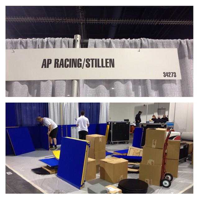 Work continues on the booth!  Make sure to stop by the #apracing #stillen booth during #sema2014