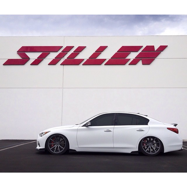 Airred out! The STILLEN SM500 Q50 on @AirREXusa Digital Air Suspension and @Vossen VFS-1's!