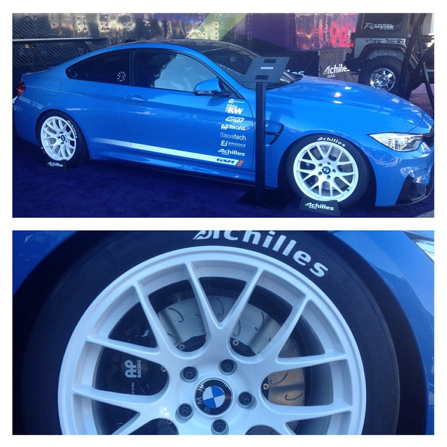 If you're at #sema2014 make sure you stop by the Achilles tire outdoor display and take a look at this awesome #BMW #m4 prepared by our friends @gsrautosport you know a car of this caliber wouldn't be running anything less than #apracing brakes by #stillen #globaltimeattack #becauseracecar #bimmerfest #sema #bigbrakes