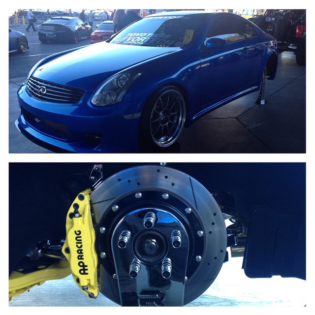Check out this beautiful #g35 #coupe built by @bluewaffleg35 sporting #apracing brakes and a whole host of #stillen performance parts!  Make sure to stop by #sema2014 and check it out!  It just so happens to be parked right behind the #semaq50  #vqnation #vq35 #carswithoutlimits