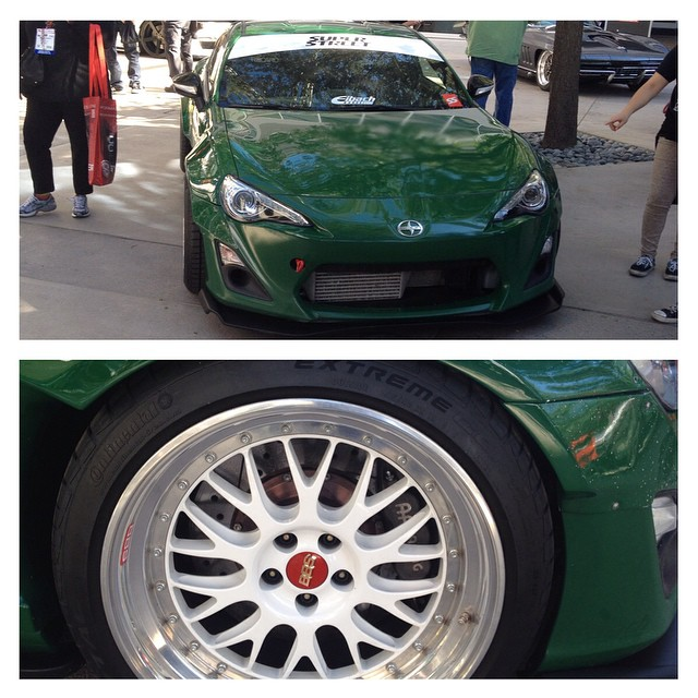 Yet another car here at #sema2014 running the #apracing brakes by #stillen this particular #scion #frs was built @superstreet magazine for #sema last year and it was awesome to see that the guy is driven hard!  #superstreet