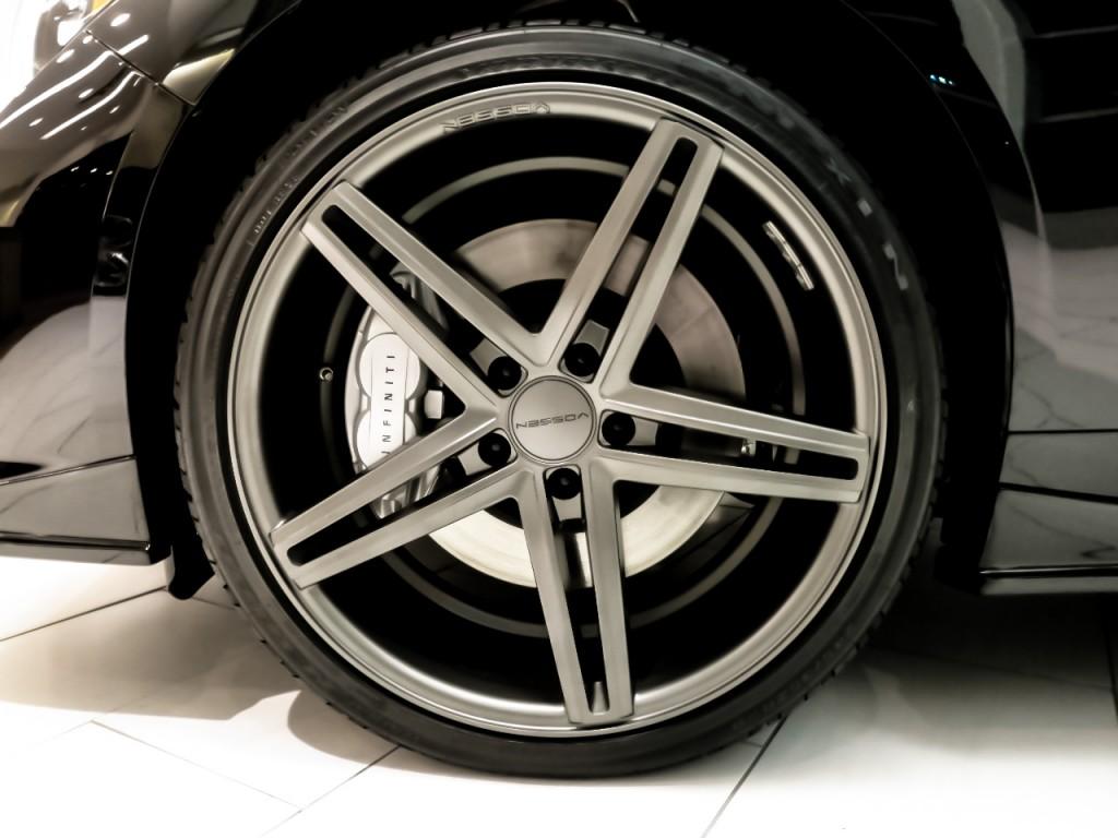 "20"" Matte Graphite Vossen CV5 Wheels on the Infiniti Laval Q50S"
