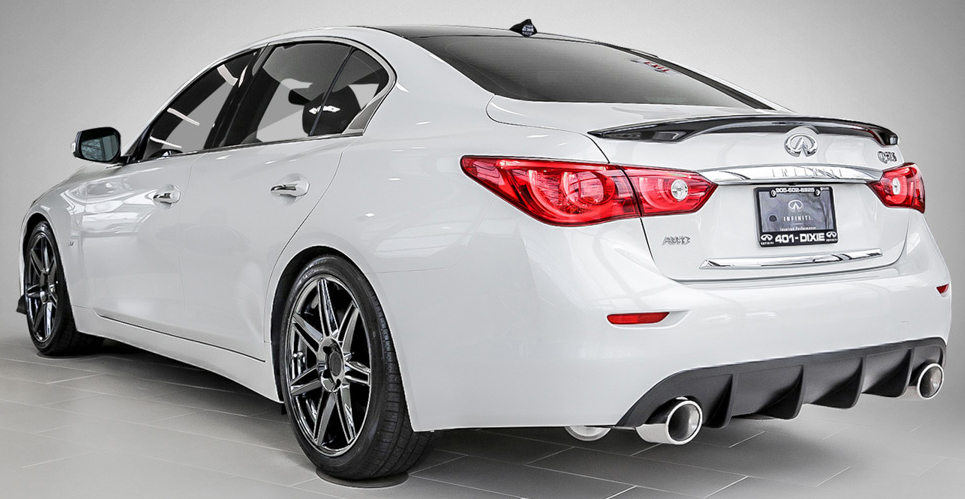 White Q50S with RS-R Lowering Springs, STILLEN Exhaust, STILLEN Body Components and Niche Wheels Available at 401 Dixie Infiniti