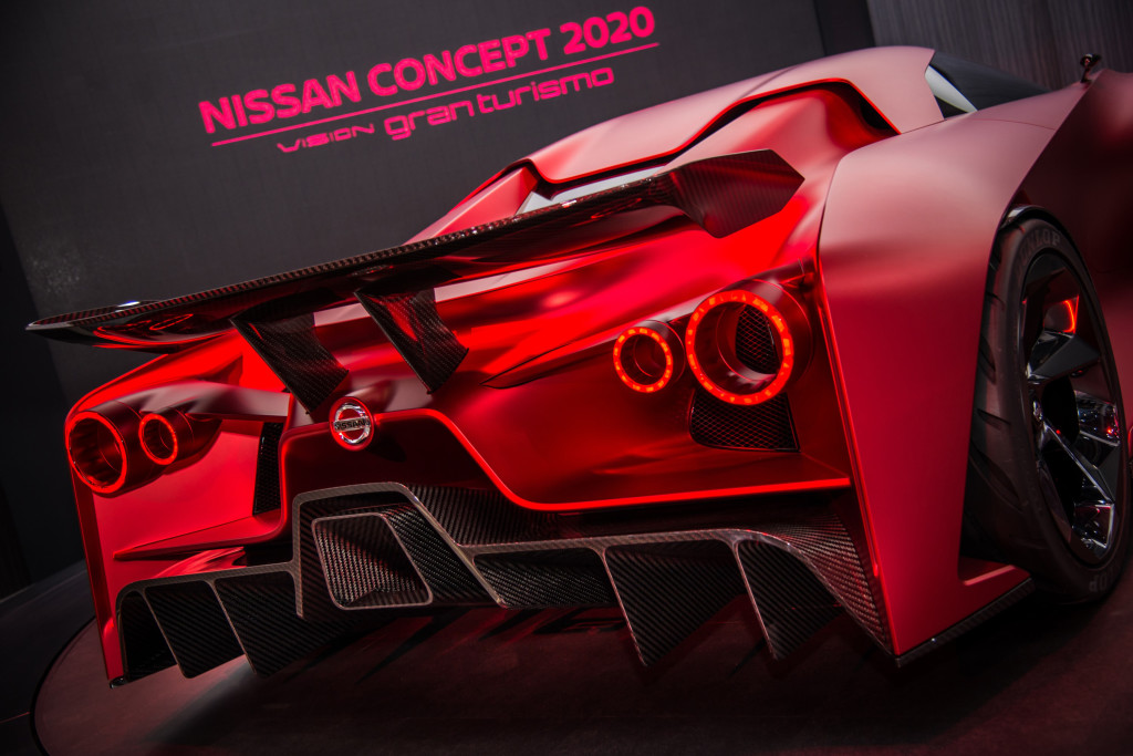 TOKYO, Japan (Oct. 29, 2015) – In new Fire Knight red body color that debuted at the 2015 Tokyo Motor Show, and featuring a new expression of Nissan's signature V-Motion grille, the Nissan Concept 2020 Vision Gran Turismo is a real-world embodiment of a virtual car, through which gamers around the world experience Nissan's dynamic performance and innovation.