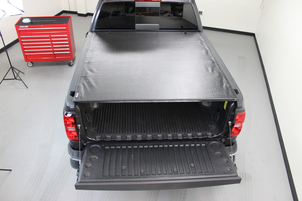 Extang Revolution Tonneau Cover Rolled Closed on a Chevy Silverado