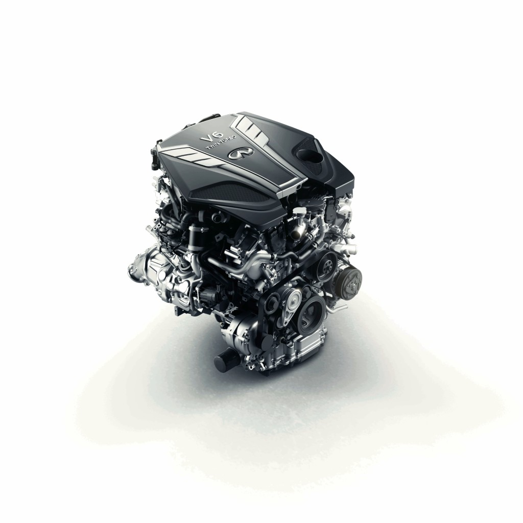 NASHVILLE (Dec. 15, 2015) – Infiniti's new compact, lightweight 3.0-liter V6 twin-turbo engine is the most advanced V6 engine that the brand has ever offered, striking an ideal balance between drivability, efficiency, and performance. The 3.0-liter V6 twin-turbo is an all-new engine from the new and exclusive VR-series powertrain family, born out of the brand's longstanding heritage of V6 powertrain production. The new engine has been engineered to empower the driver and offer increased power and torque and higher levels of efficiency than any comparable predecessors from the company.